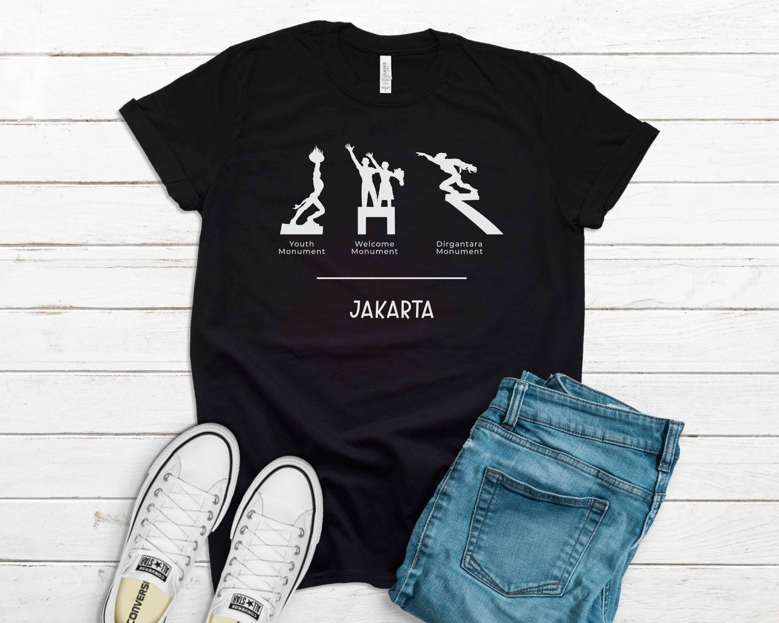 Jakarta Monuments t-shirt black color