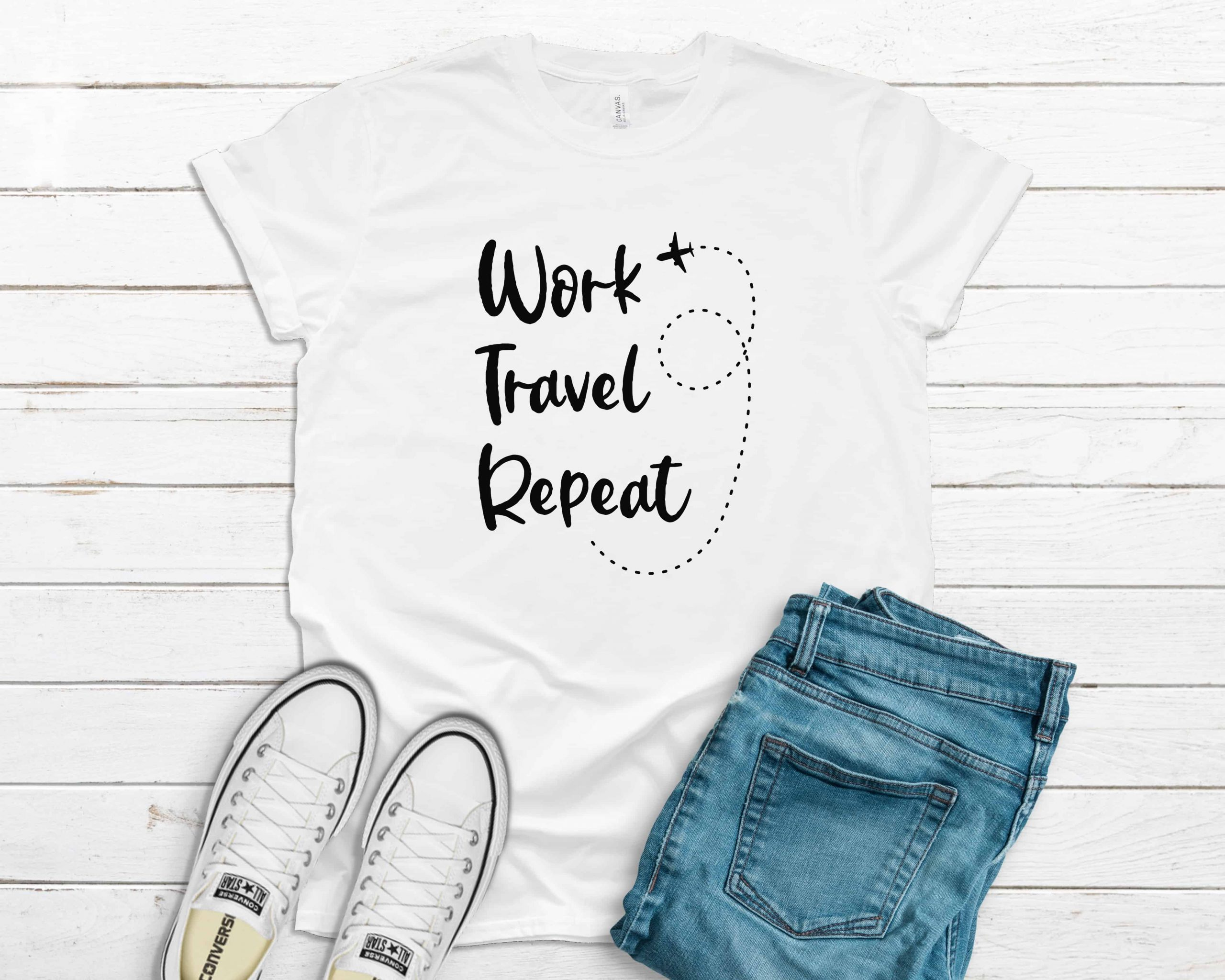 Work Travel Repeat t-shirt white color